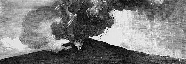 A Tambora két éven át tartó kitörése során a légkörbe jutott és a Napot eltakaró hamufelhő hatására 1816-ban szinte az egész Földön elmaradt a nyár (korabeli ábrázolás)  • Forrás: curtinarch.com