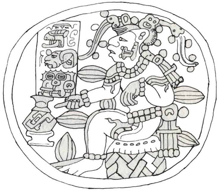 Kakaófa formájában, csokoládéitalos edénnyel ábrázolt maja kukoricaisten (középkori maja edény díszítménye) • Kép forrása: ecoyuc.com