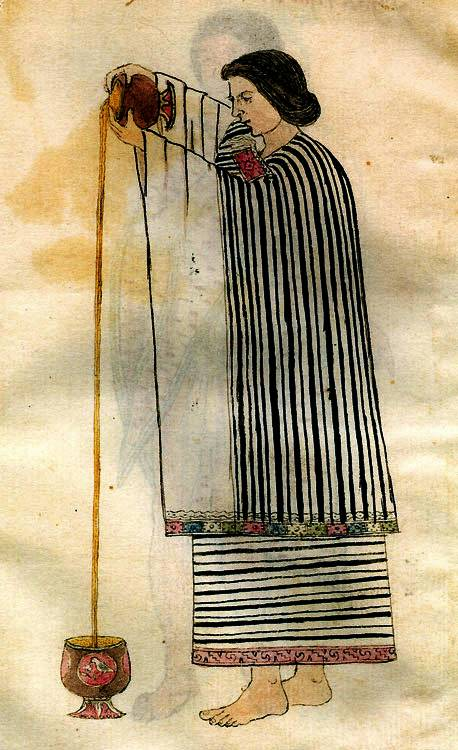 Csokoládéitalt öntő asszony egy középkori azték kódexben • Kép forrása: chocolateclass.wordpress.com