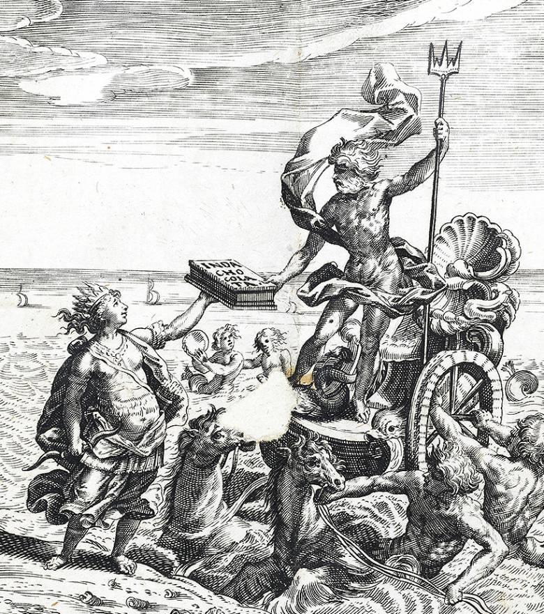 Antonio Colmenero de Ledesma metszetén maga Poszeidón tengeristen csempészi Dél Amerikából Európába az istenek italát (1644) • Kép forrása: publicdomainreview.org