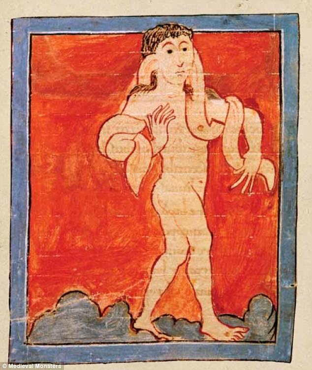 Óriási fülét karjára tekerő csodalény egy 11. századi, valószínűleg Canterburyben készült kódexben (Kelet csodái, 1040 körül) • Kép forrása: dailymail.co.uk