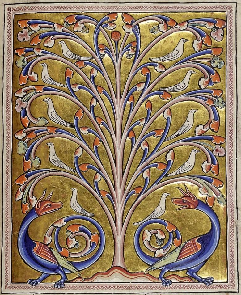 A galamboknak menedéket adó, árnyékával a sárkányokat elriasztó, mitológiai peridens fa (Aberdeen bestiárium) • Kép forrása: wunderkammer.blog.hu