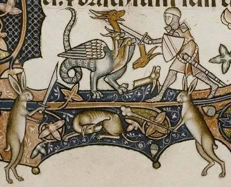 A gonoszt megtestesítő, legendabeli (egykor létezőnek hitt) sárkánnyal küzdő lovag egy 13. századi imádságos könyvben • Kép forrása: flashbak.com
