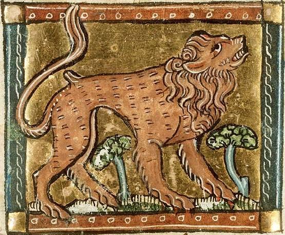 Az állatok királya, az erőt, hatalmat és bátorságot jelképező oroszlán egy 13. századi zsoltáros könyv illusztrációján • Kép forrása: Pinterest.com