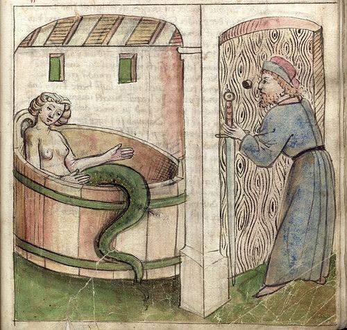 Az asszonyfelsőtestű, halfarkú, férfiakat megigéző, csábítást jelképező sellő egy reneszánsz kori kéziratban (1480 körül) • Kép forrása: Pinterest.com