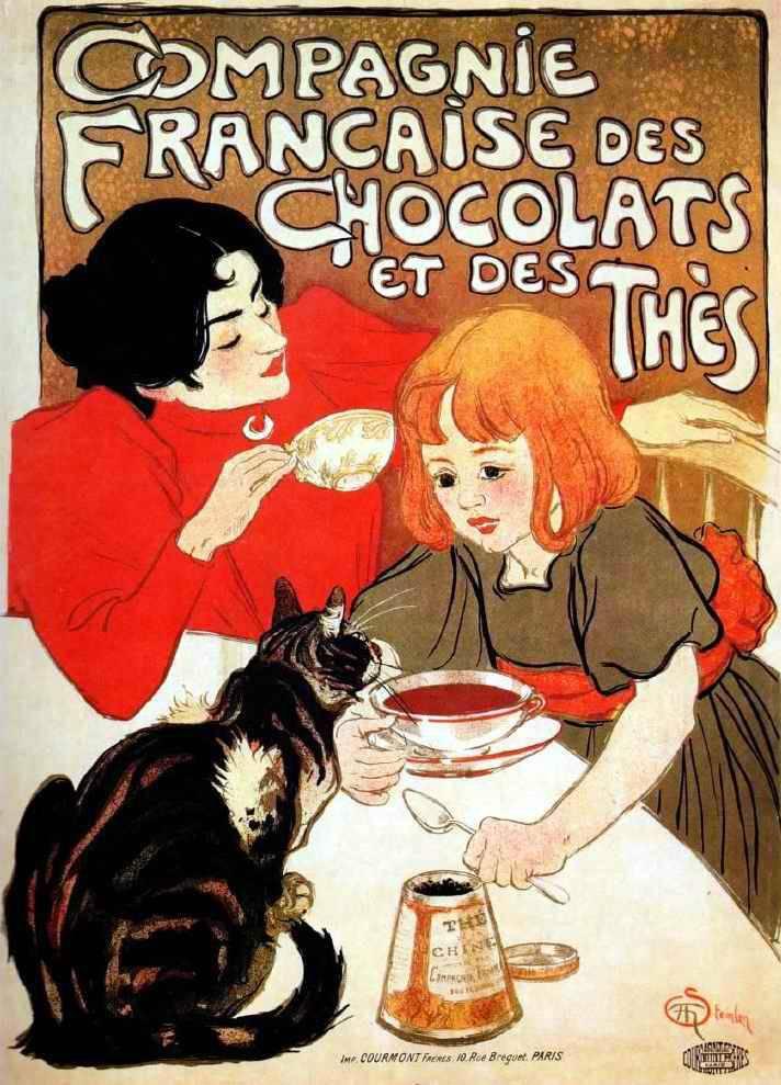 A csokoládé 19–20. századi hódító útján fontos szerepe volt a vonzó, színes reklámoknak (Theophile Alexandre Steinlen reklámplakátja, 1898) • Kép forrása: metmuseum.org