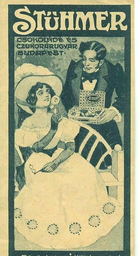 Az alapító dédunokájáról elnevezett Tibi csokoládét először készítő Stühmer gyár termékeit népszerűsítő hirdetés a múlt század első feléből • Kép forrása: mandadb.hu