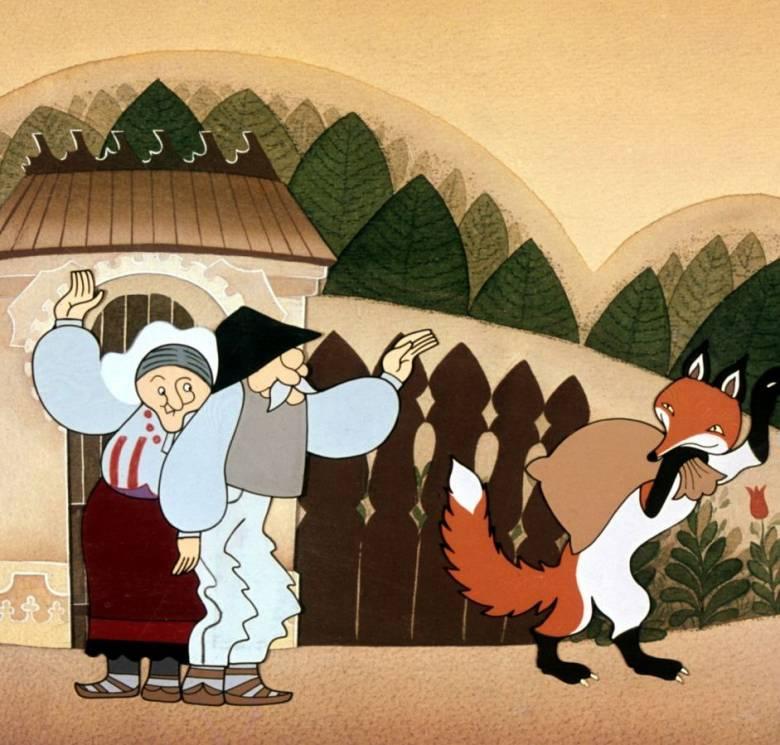 A szállást kérő róka című magyar népmesének a befogadó gazdáktól tyúkot, libát, majd malacot lopó (végül pórul járó) rókája (Jankovics Marcell rajza)