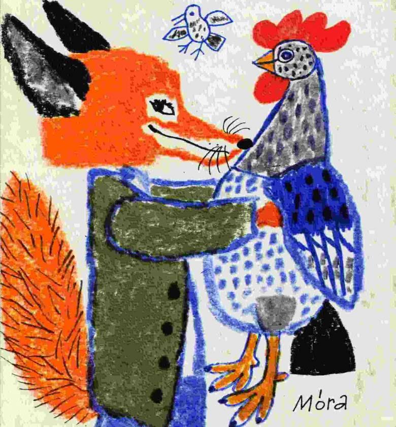 Móra Ferenc regényének híres-neves állathőse, az agyafúrt, gátlástalan és zsákmányával igen elégedett Csilicsali Csalavári Csalavér (Reich Károly rajza)
