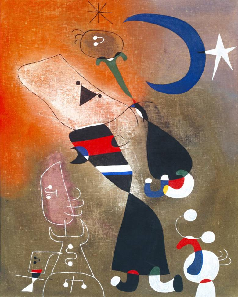 Joan Miró katalán festő gyermekrajzokra emlékeztető alkotásait játékosság jellemzi • Nő és madár holdfényben, 1949 • Kép forrása: tate.org.uk