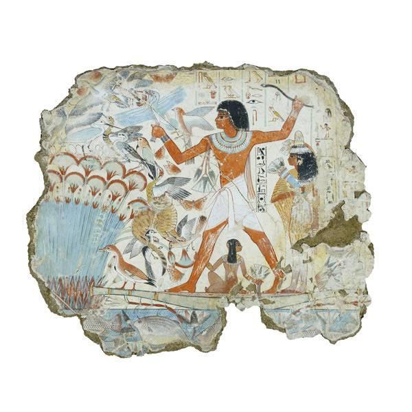 Az óegyiptomi falképeket, ruhákat és kerámiákat gyakran színezték a mesterségesen előállított egyiptomi kék festékkel (vadászjelenet egy Kr. e. 14. századi thébai sírkamrában) • Forrás: worldhistory.org