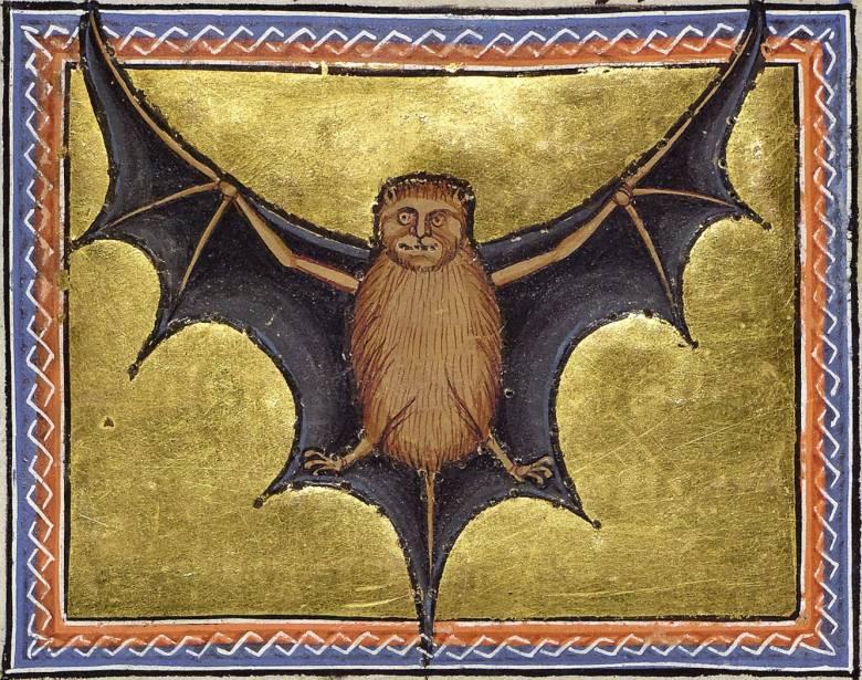 Az Ószövetségben a tisztátalan állatok közé sorolt, emberarcú lényként ábrázolt denevér (Aberdeen bestiárium) • Kép forrása: wunderkammer.blog.hu