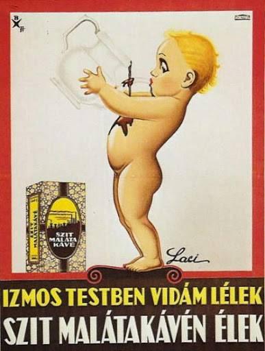 A Szent István Tápszerművek termékeit népszerűsítő plakát a reklámverssel: Izmos testben vidám lélek, Szit malátakávén élek! (1922) • Kép forrása: minden-ami-magyar.hu