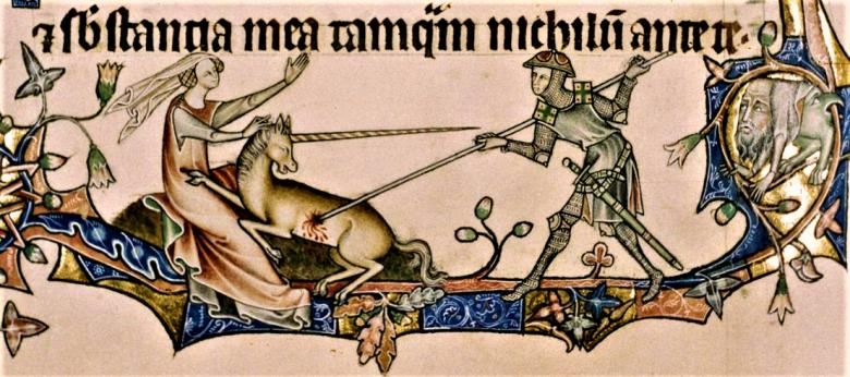 Lófejű, őzlábú unikornis (egyszarvú), amelyet a legenda szerint csak akkor győzhettek le, amikor szüzek ölébe hajtotta fejét (Ormesby pszaltérium) • Kép forrása: martelyman.blogspot.com