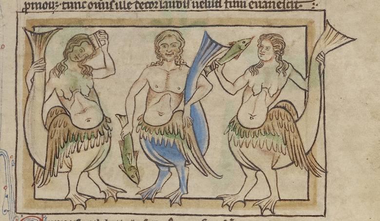 Az ókori hajósok által gyakran látni vélt, csábítást és hiúságot megtestesítő sellők (Northumberland bestiárium, 1250 körül) • Kép forrása: blogs.getty.edu