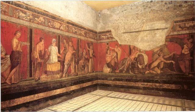 A pompeji villák falait díszítő festmények gyakori színe volt a cinnabarit nevű ásványból nyert, ragyogó és időtálló – pompeji vörösnek is nevezett – cinóber (Bacchus-ábrázolás egy Kr. e. 1. századi épület falán) • Forrás: pinterest.com