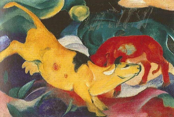 Képeinek kék, vörös, sárga lovaival, teheneivel az expresszionista irányzat legjelentősebb művészei közé tartozott Franz Marc német festő • 1912 • Kép forrása: artmagazin.hu