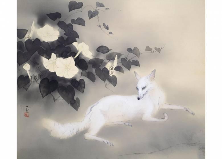 Inari (japán rizsistenség) szent állata, illetve hírvivője, a gabonaföldeket védelmező fehér róka Hashimoto Kansetsu Nyári este című festményén (1941)  • Kép forrása: japanobjects.com