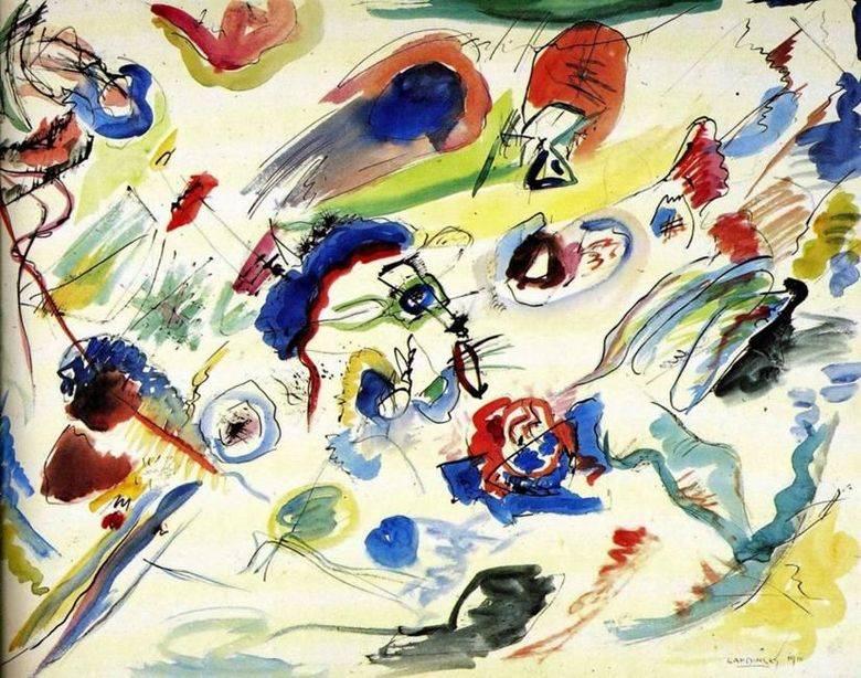 Vaszilij Kandinszkij a színt hangszernek tekintette, amelyen a művész keze játszik • Az első absztrakt akvarell, 1910 • Kép forrása: hu.painting-planet.com