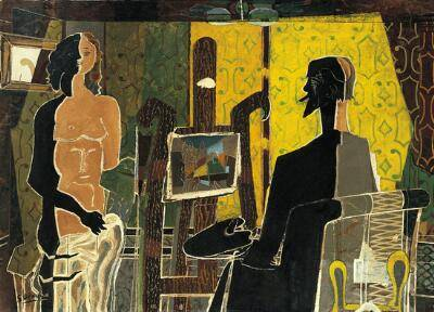 A kubista művészek gyakran ábrázolták képeiken egyszerre több nézetből a tárgyakat • George Braque: Festő és modellje, 1939 • Kép forrása: nortonsimon.org