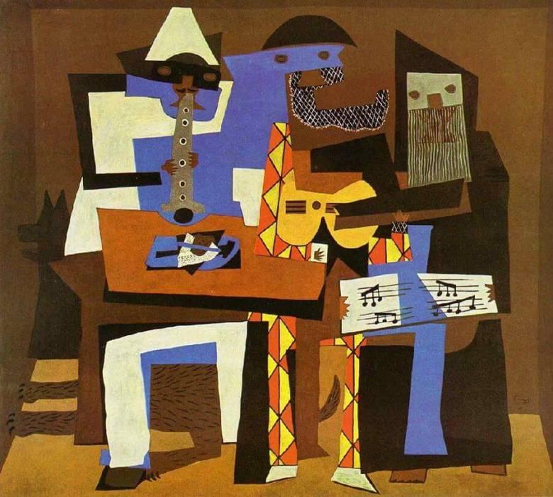 Pablo Picasso spanyol festő kubista korszakában mértani formákkal, kitalált elemekkel ábrázolta a valóságot • Három muzsikus, 1921 • Kép forrása: pablopicasso.org