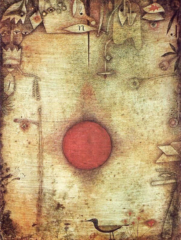 A svájci Paul Klee Naphimnusz (Ad Marginem) című képének középpontjában hatalmas, vöröslő Nap áll, a földi világ növényei, madarai, tárgyai a kép szélére kerültek •  1930 • Kép forrása: paulklee.net