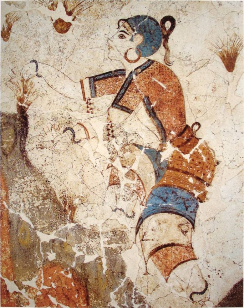 Az ókortól használták sárga, illetve narancssárga színezékként a sáfrány megszárított bibéjéből nyert, igen drága port (sáfrány bibéit gyűjtő lány egy ókori görög falfestményen, Kr. e. 1500 körül) • Forrás: Wikimedia Commons
