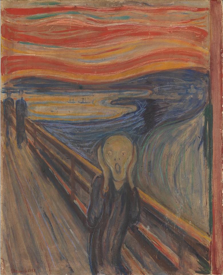 """""""A természeten át egy nagy kiáltást éreztem"""" – vallotta Edward Munch norvég szimbolista festő leghíresebb képének megalkotásakor • A sikoly, vázlat, 1893 • Kép forrása: Wikipédia"""