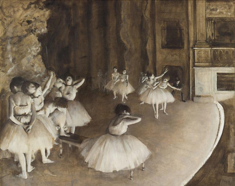 Edgar Degas Balettpróba a színpadon című képén a szürke különböző árnyalataival örökítette meg a táncoló, illetve fáradtan megpihenő balerinák mozdulatait • 1874 • Kép forrása: Wikipédia
