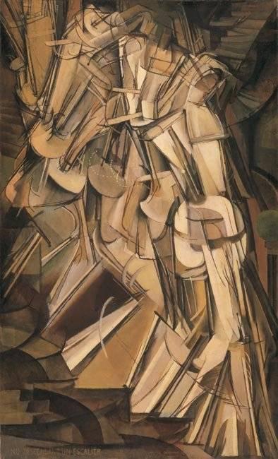 Marcel Duchamp kubista és futurista korszakának határán festette meg gépnőjének mozdulatsorát • Lépcsőn lemenő nő, 1912 • Kép forrása: tate.org.uk
