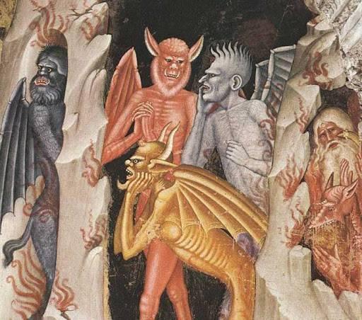 A középkori templomok falképein és a kódexek miniatúráin a pokol ördögeinek színe fekete, szürke vagy vörös (Andrea di Bonaiuto freskója a firenzei Spanyol-kápolnában, 14. sz.) • Forrás: travelingintuscany.com