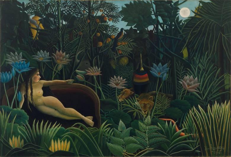 """Fantáziavilágot megjelenítő képeivel a szürrealizmus francia előfutárának tekinthető a múlt század leghíresebb naiv festője, """"a vámos"""" (Henri) Rousseau • Az álom, 1910 • Kép forrása: Wikipédia"""