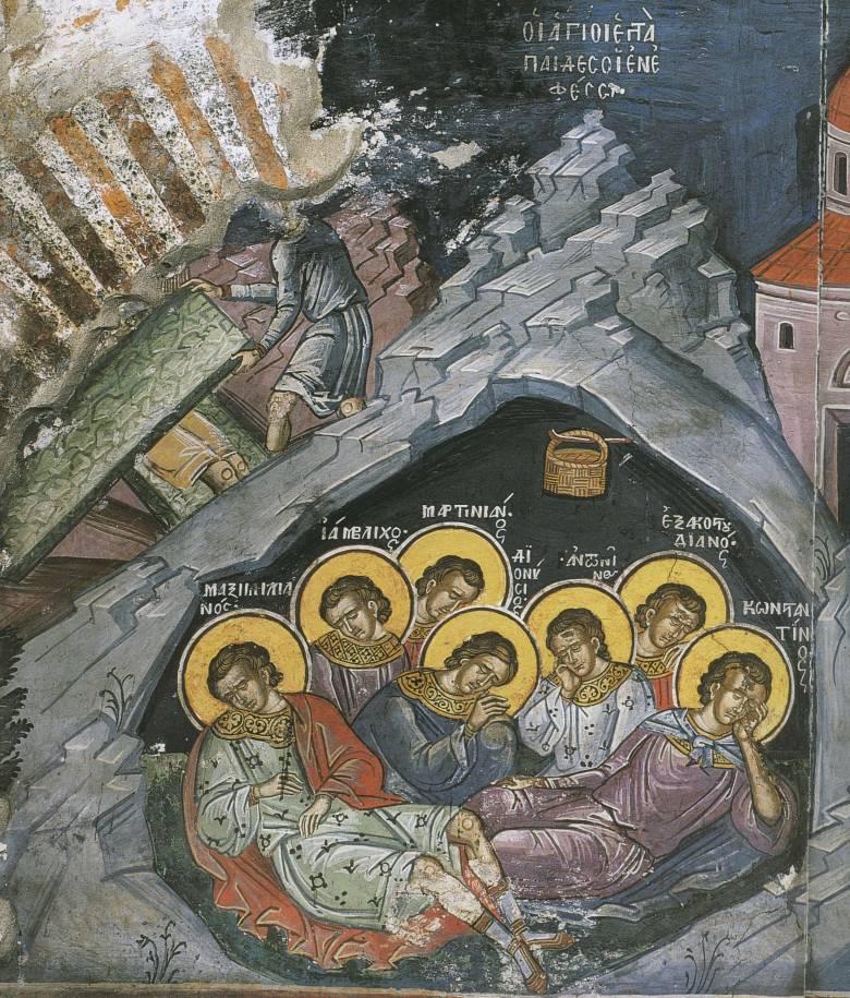 """A """"hétalvó"""" szavunk a Decius római császár által egy barlangba befalaztatott hét keresztény ifjúra emlékeztet, akik átaludták a szabadulásukig eltelt kétszáz évet • görög ikon: A hét szent alvó • Kép forrása: russianicons.com"""