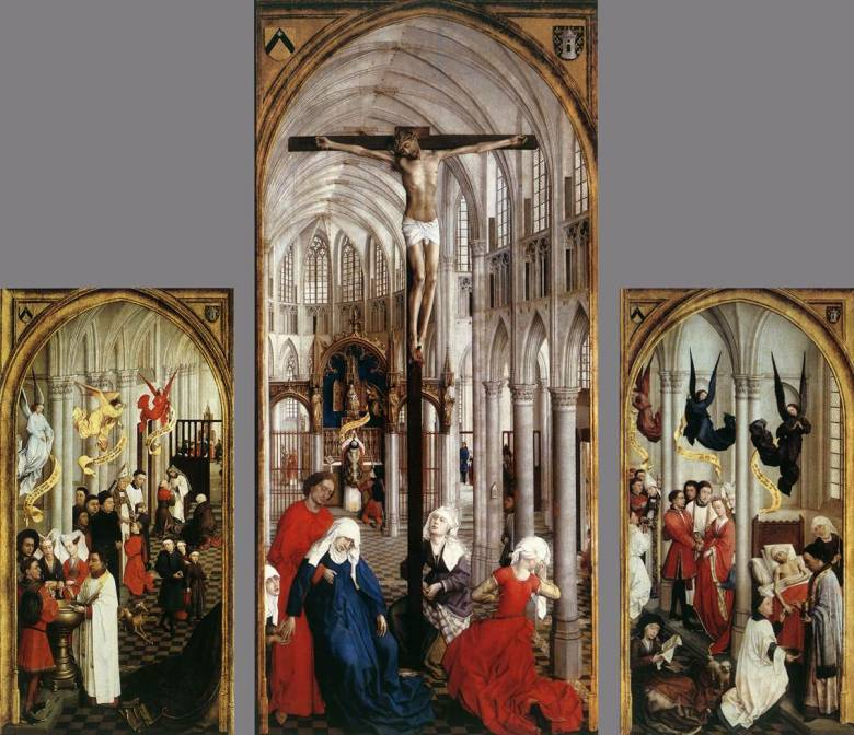 A hét szentség: keresztelés, bérmálás, házasság, oltári szentség, papi szentség, betegek kenete és bűnbocsánat • Rogier van der Weyden oltárképe, 1448 körül • Kép forrása: wga.hu