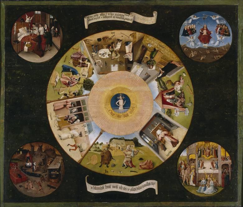 Hieronymus Bosch legkorábbi műveinek egyike az 1480 körül festett A hét főbűn (kevélység, fösvénység, bujaság, irigység, torkosság, harag és jóra való restség) • Kép forrása: Wikipedia