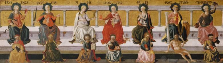A hét fő erényt – szerénység, igazságosság, hűség, jótékonyság, reménykedés, szilárdság, mértékletesség – jelképező nőalakok Francesco Pesellino festményén (1400 körül)  • Kép forrása: Wikipedia