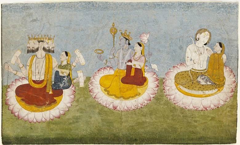 A hindu mitológia hármas istensége: Brahma, a teremtés, Visnu, a megtartás és Siva, a rombolás istene • Kép forrása: Wikimedia