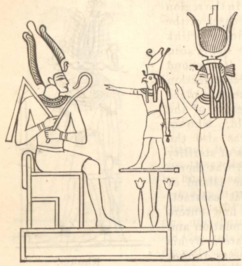 Az egyiptomi mitológia istenhármassága: Ízisz, Hórusz és Ozirisz • Kép forrása: Wikimedia