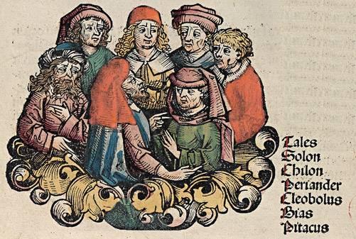 A hét görög bölcs, a Kr. e. 6–7. században élt – elmés mondásai által híressé vált – hét filozófus középkori ábrázolása • Kép forrása: greek-names.info