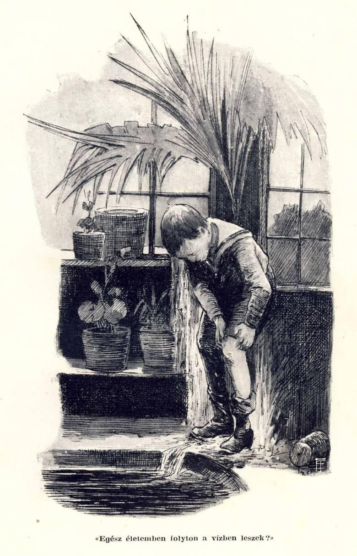 Nemecsek a füvészkerti Pálmaházban – illusztráció A Pál utcai fiúk első kiadásában, 1907. Kép forrása: Wikipmedia Commons