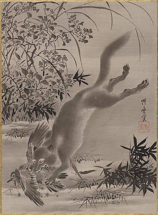 Az áldozatnak esélye sincs a menekülésre a viszonylag távolról, akár kétméternyi magasságból ráugró vadász elől • Kawanabe Kyosai: Madarat megragadó róka – 1887 • Kép forrása: Pinterest