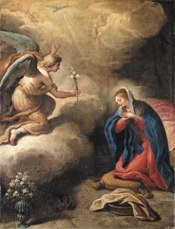 A kezében liliomot tartó Gábriel arkangyal és szárnyas gyermekfejekként ábrázolt angyalok egy barokk kori festményen • Paolo de Matteis: Angyali üdvözlet, 1712 • Kép forrása: artnet.com