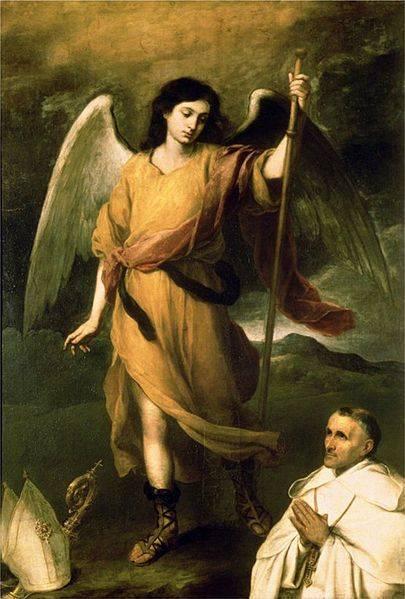 A festményeken többnyire vándorbottal ábrázolt Rafael arkangyal • Bartolomé Esteban Perez Murillo: Rafael arkangyal és Francisco Domonte püspök, 1680 körül • Kép forrása: Pinterest