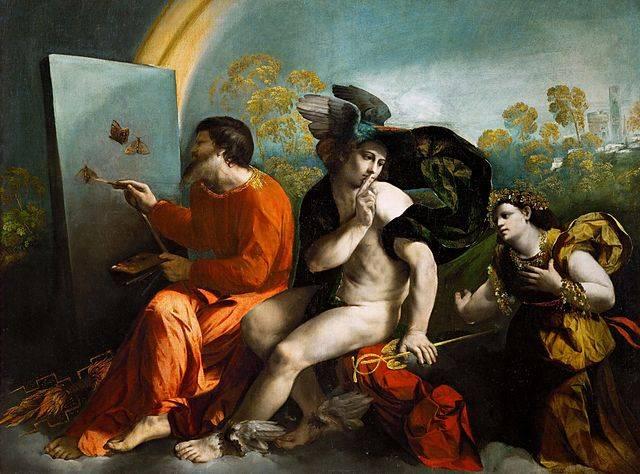 Jupiter főisten, a csütörtök (joi, jeudi, jueves stb.), illetve Mercurius, az istenek hírnöke, a szerda (miercuri, mercedí, miércoles stb.) névadója Dosso Dossi festményén (1523) • Forrás: Wikimedia Commons