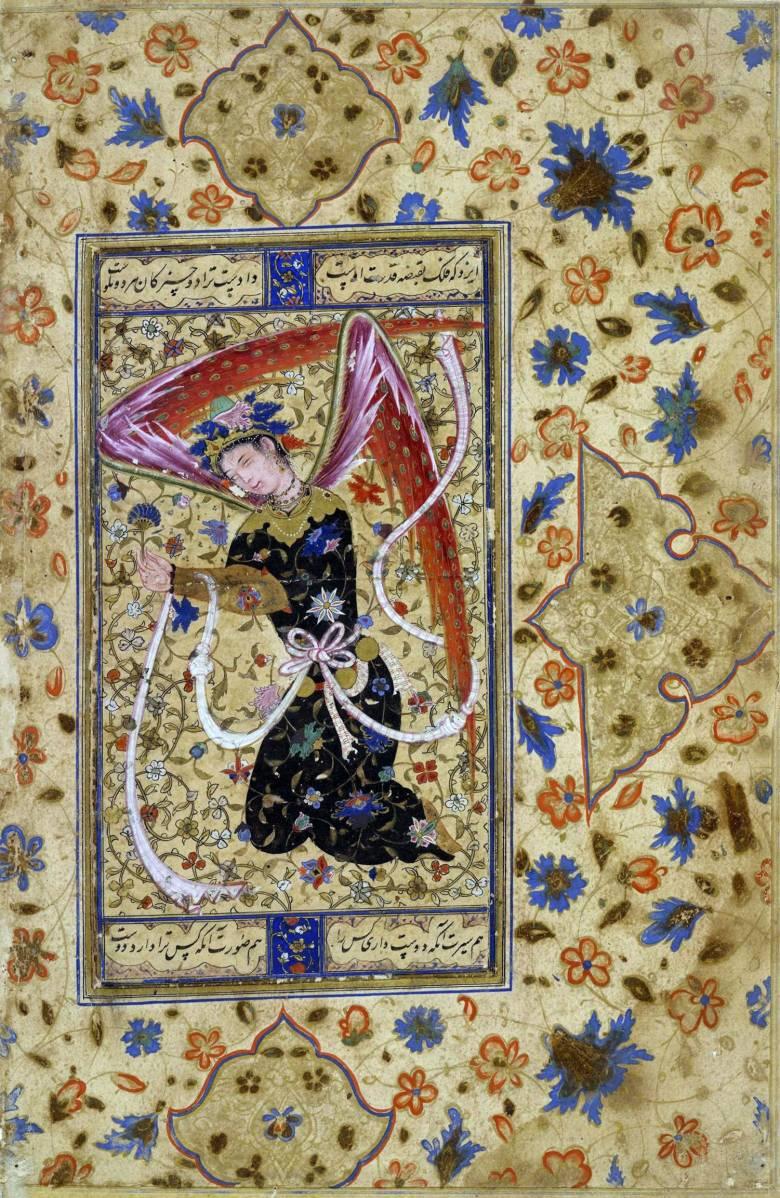 A perzsa mitológia angyalai a hatalmat, a hűséget, az egészséget stb. testesítették meg • perzsa angyal egy 16. századi kódexben • Kép forrása: Wikimedia