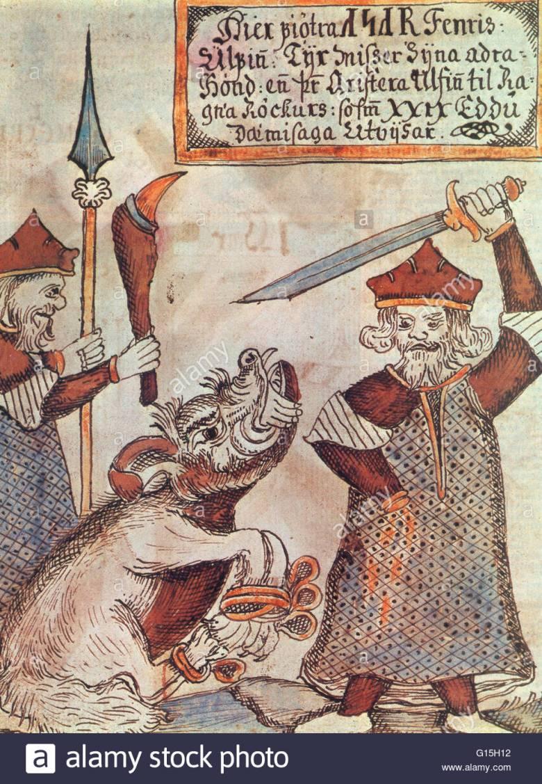 A skandináv mitológia hatalmas égi farkasával, Fenrirrel küzdő Tyr (Tiu) isten egy izlandi kéziratban • Forrás: alarmy.com