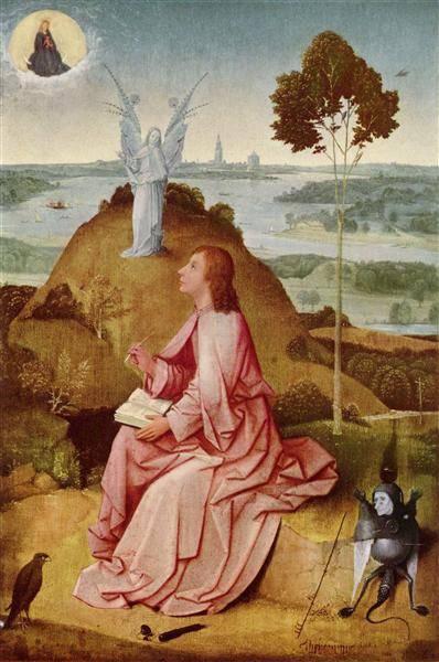 Angyal és démon János evangélista látomásában • Hieronymus Bosch: Szent János Pátmosz szigetén, 1504 k. • Kép forrása: Wikimedia