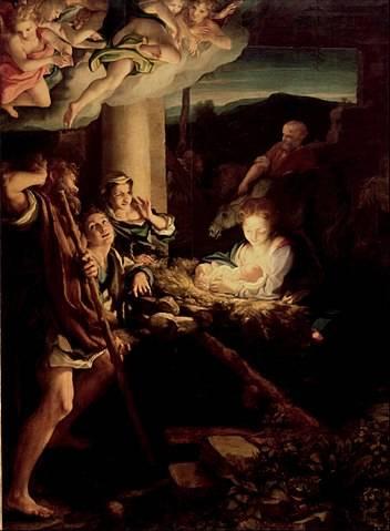 Antonio da Correggio: Szent éj • 1530 körül, Drezdai Művészeti Múzeum • Forrás: Wikipédia