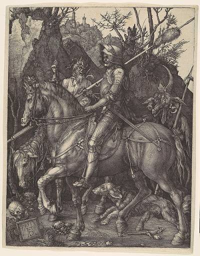 Albrecht Dürer: Lovag, Halál, Ördög • rézkarc, 1513 • Forrás: metmuseum.org
