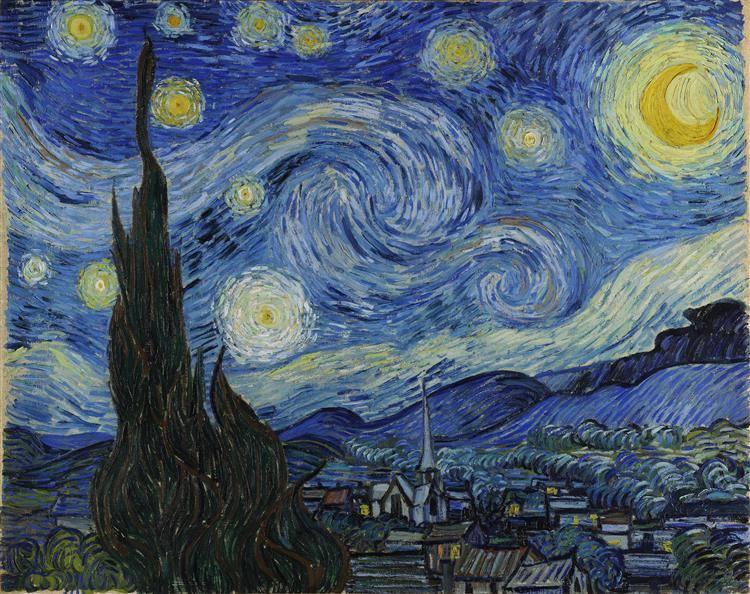 Csillagos éjszaka •1889, olaj vászonra, Modern Művészetek Múzeuma, New York • Forrás: wikiart.org